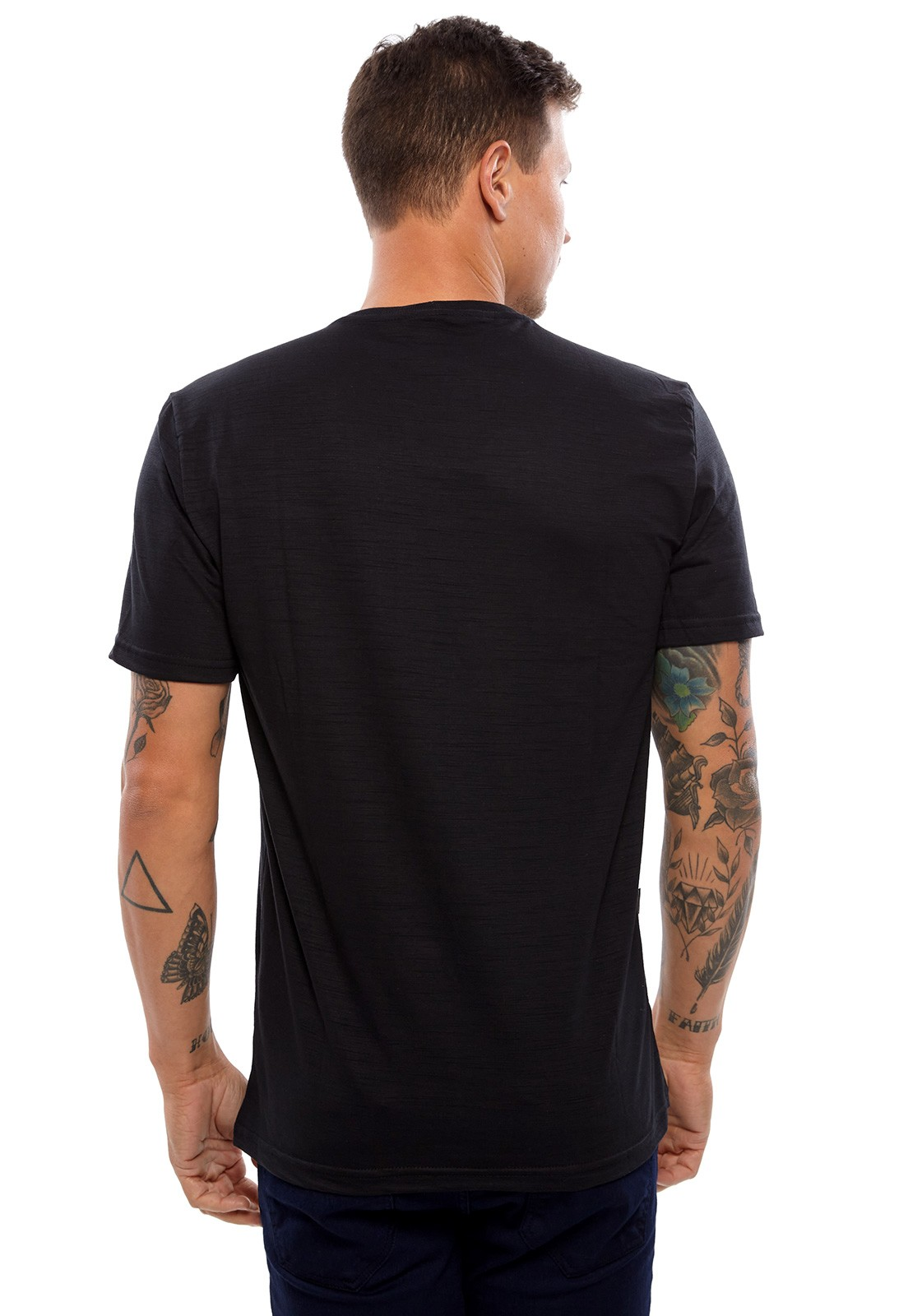 Camiseta Vida Marinha Manga Curta Flamê Preto
