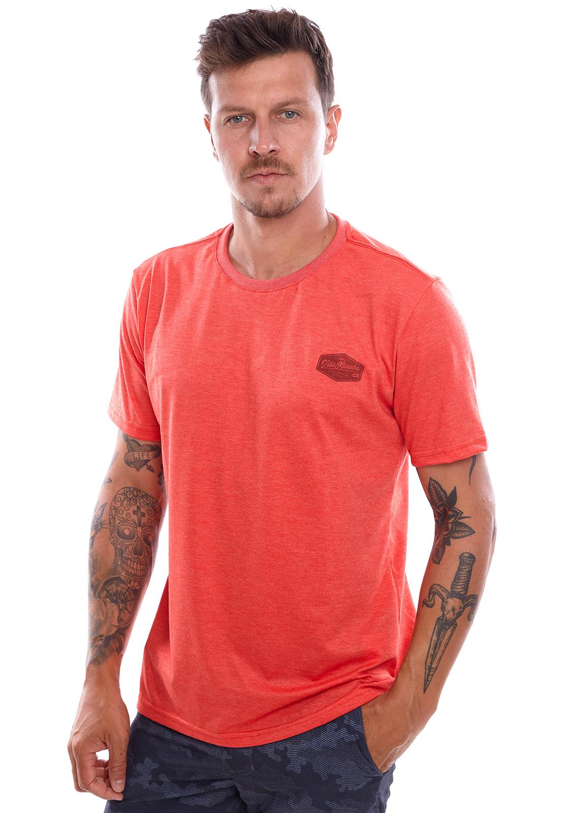 Camiseta Vida Marinha Manga Curta Laranja