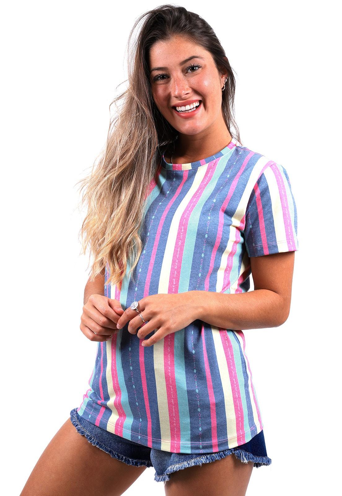 Camiseta Vida Marinha Manga Curta Listrada