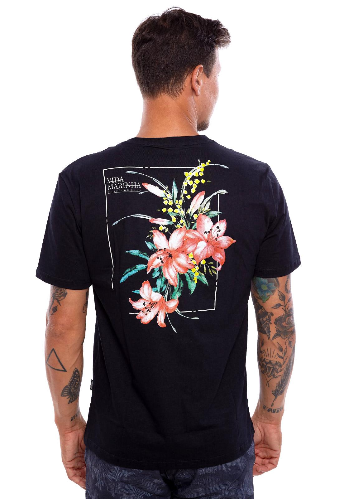 Camiseta Vida Marinha Manga Curta Preta