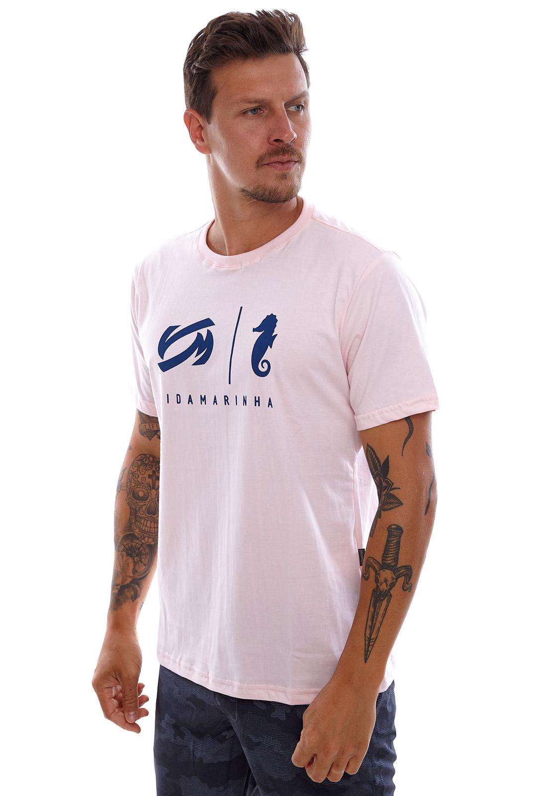 Camiseta Vida Marinha Manga Curta Rosa