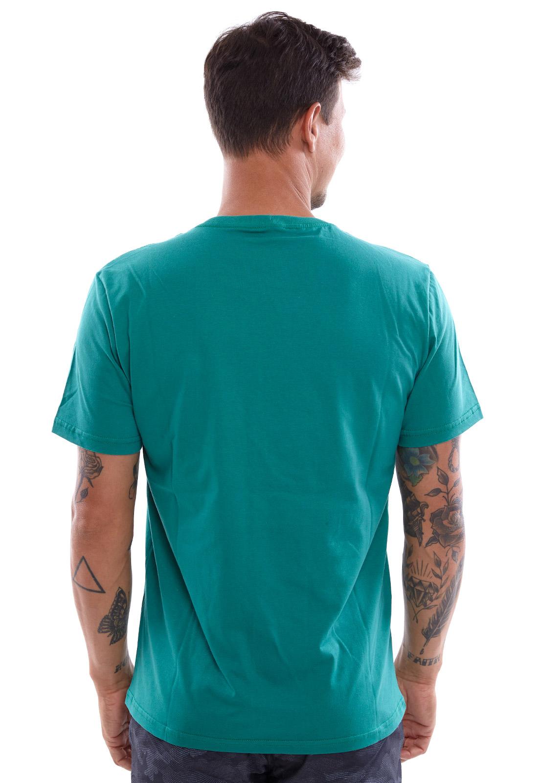 Camiseta Vida Marinha Manga Curta Azul Petróleo