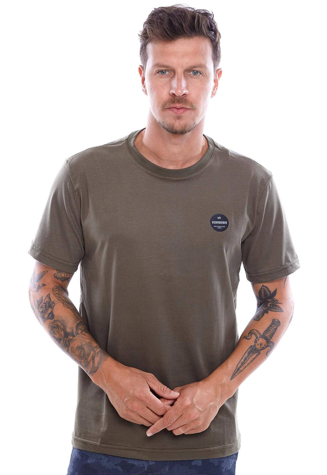 Camiseta Vida Marinha Manga Curta Verde Musgo