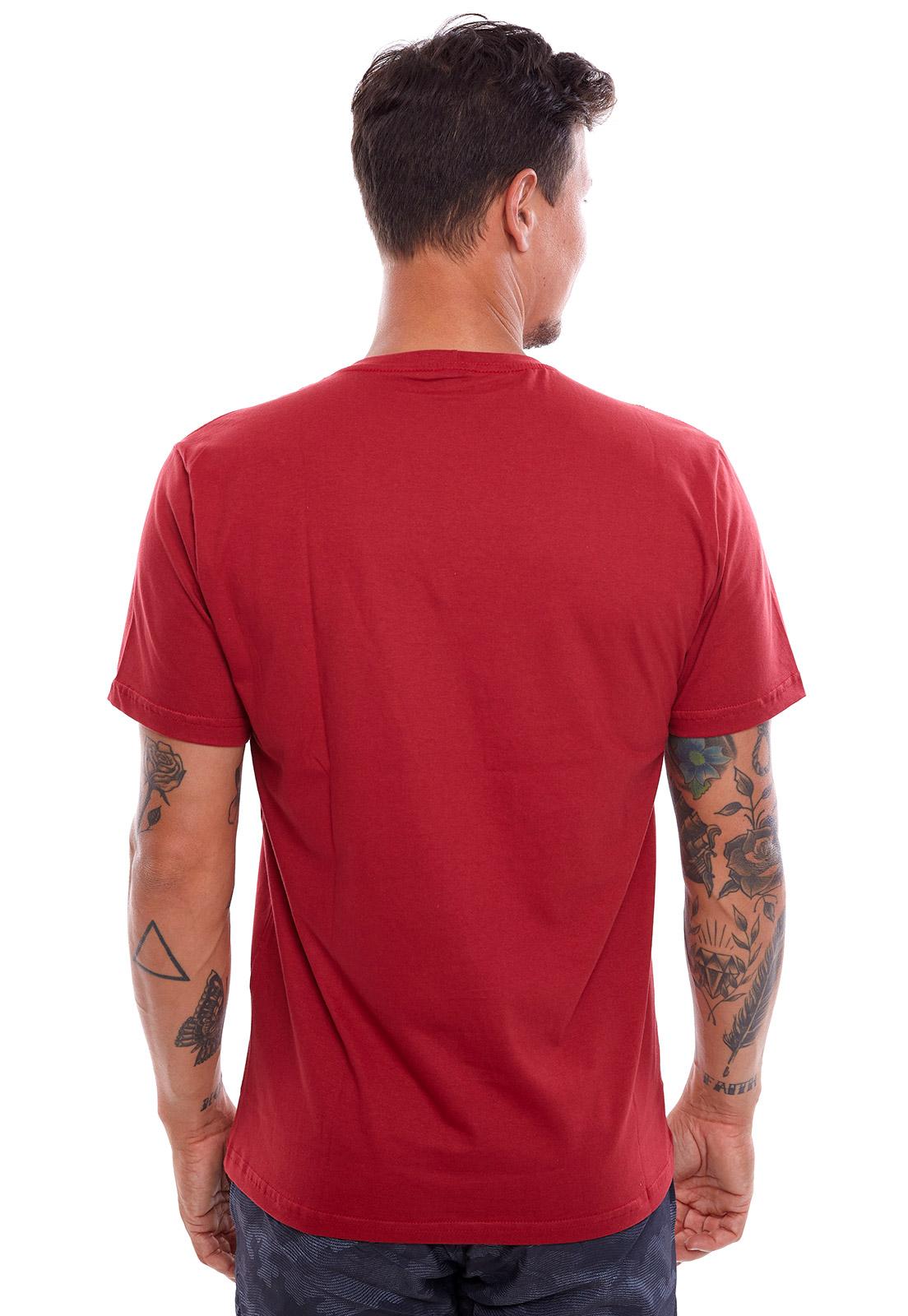 Camiseta Vida Marinha Manga Curta Vermelha