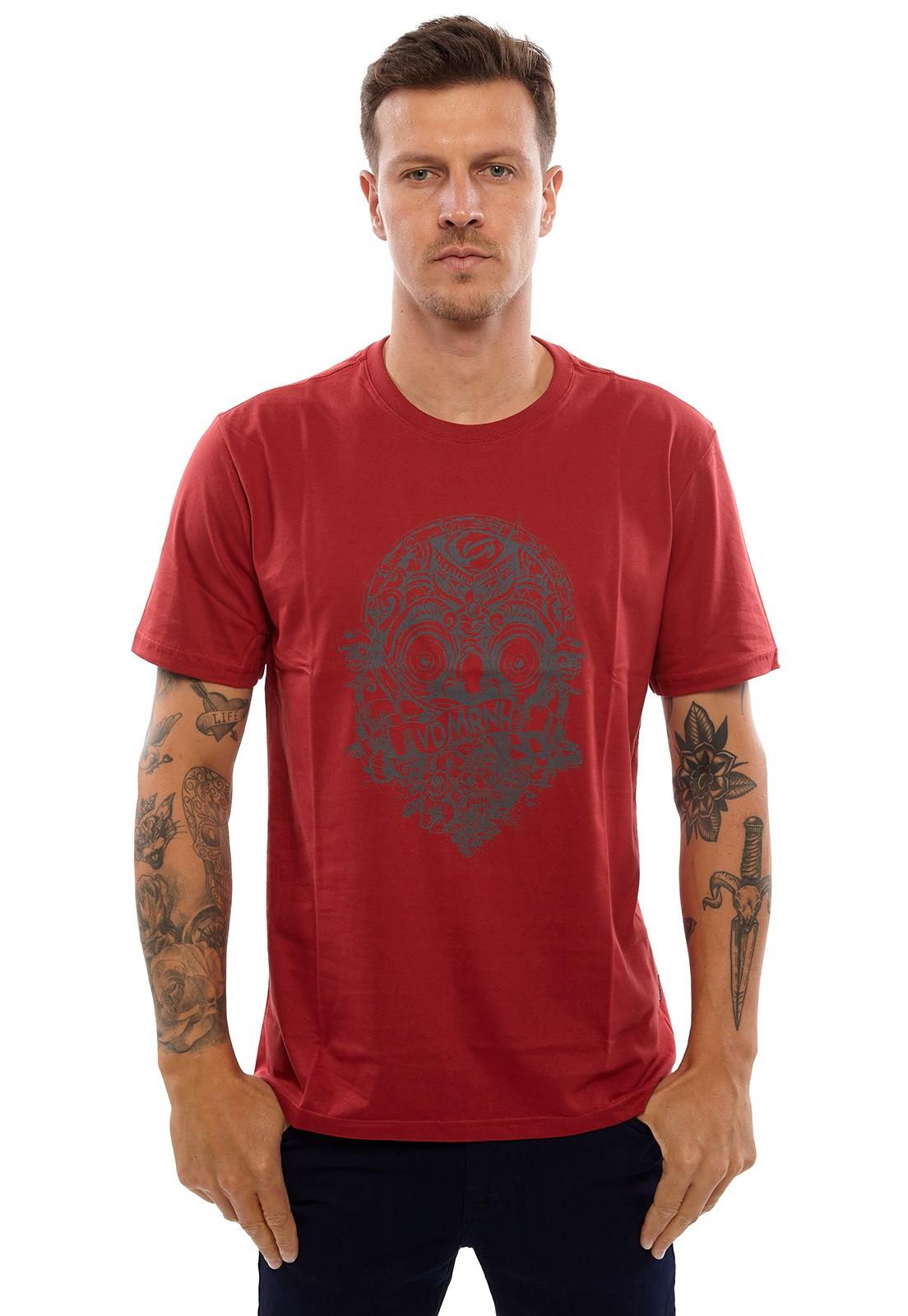 Camiseta Vida Marinha Manga Curta Vermelho
