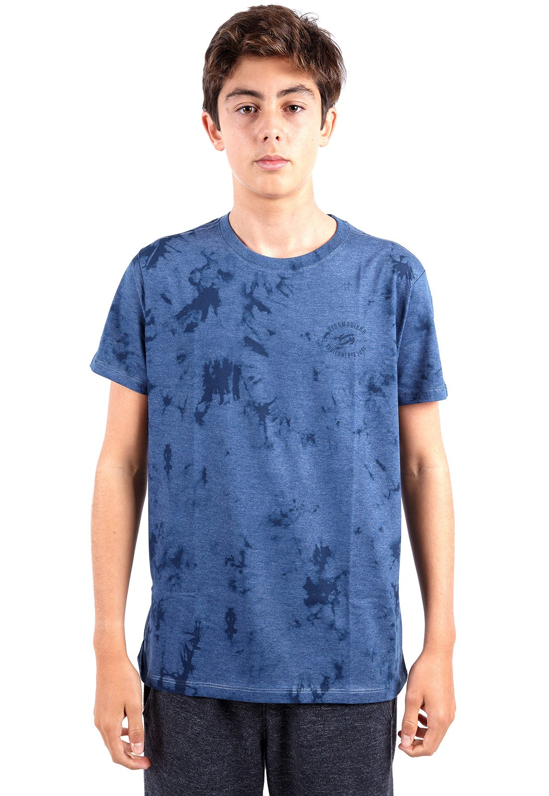 Camiseta Infantil Vida Marinha Manga Curta Azul