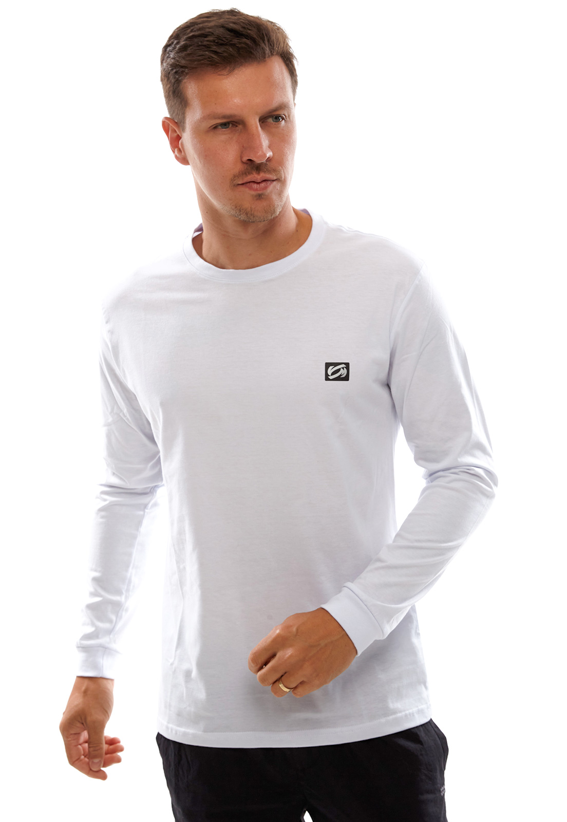 Camiseta Vida Marinha Manga Longa Básica Branca