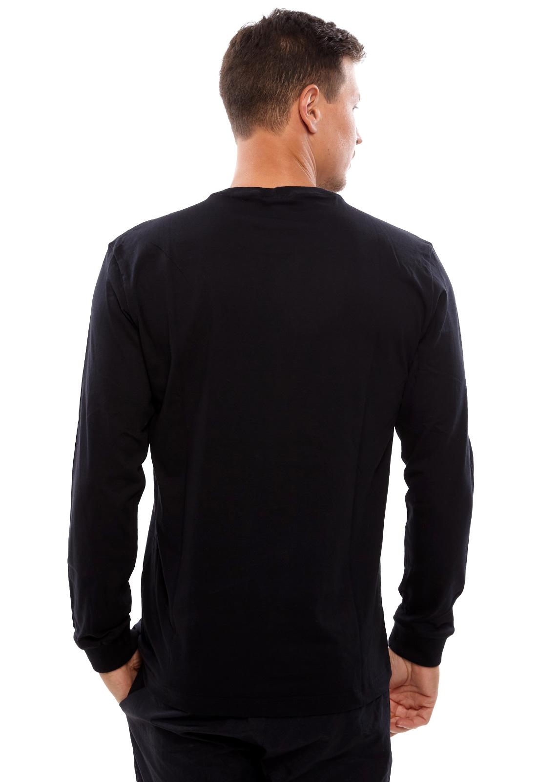 Camiseta Vida Marinha Manga Longa Básica Preta