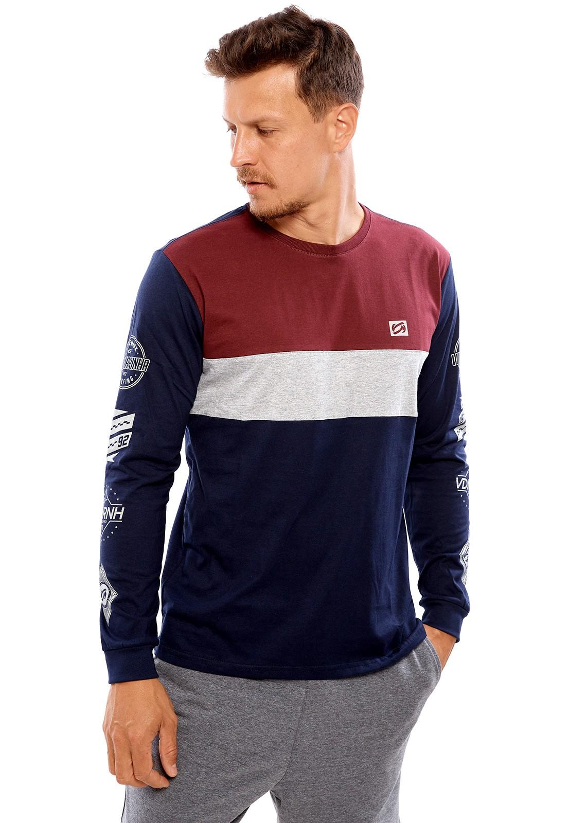 Camiseta Vida Marinha Manga Longa Bordô/Cinza/Azul