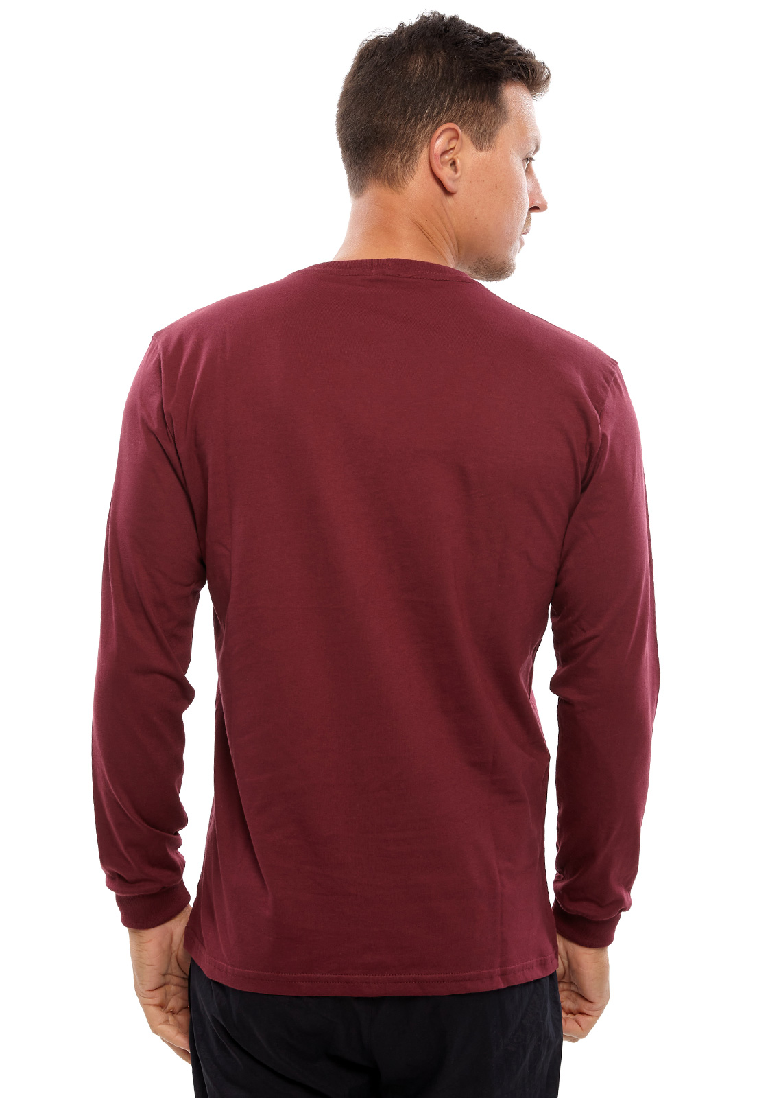 Camiseta Vida Marinha Manga Longa Bordô/Preto/Cinza