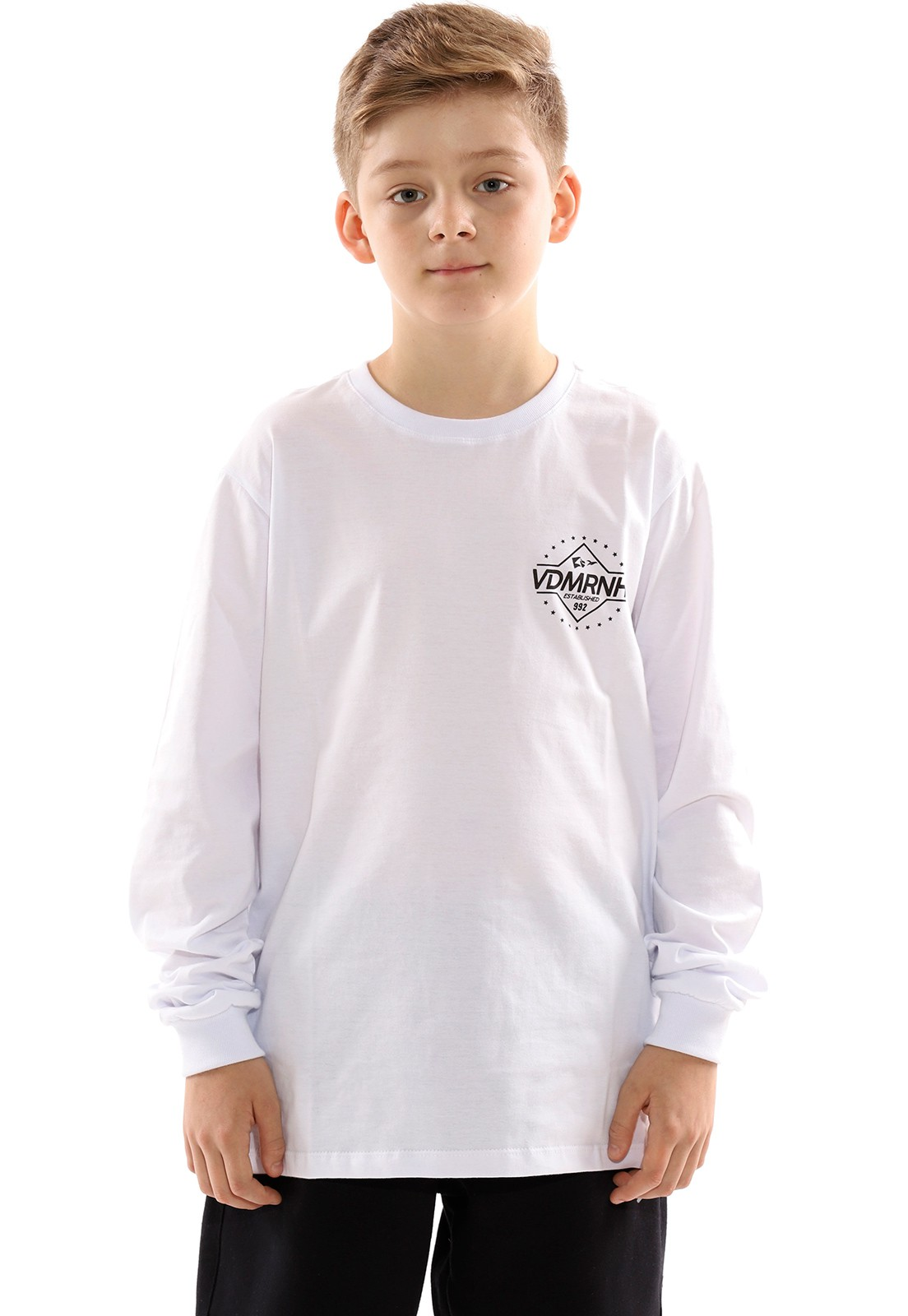 Camiseta Vida Marinha Manga Longa Branco