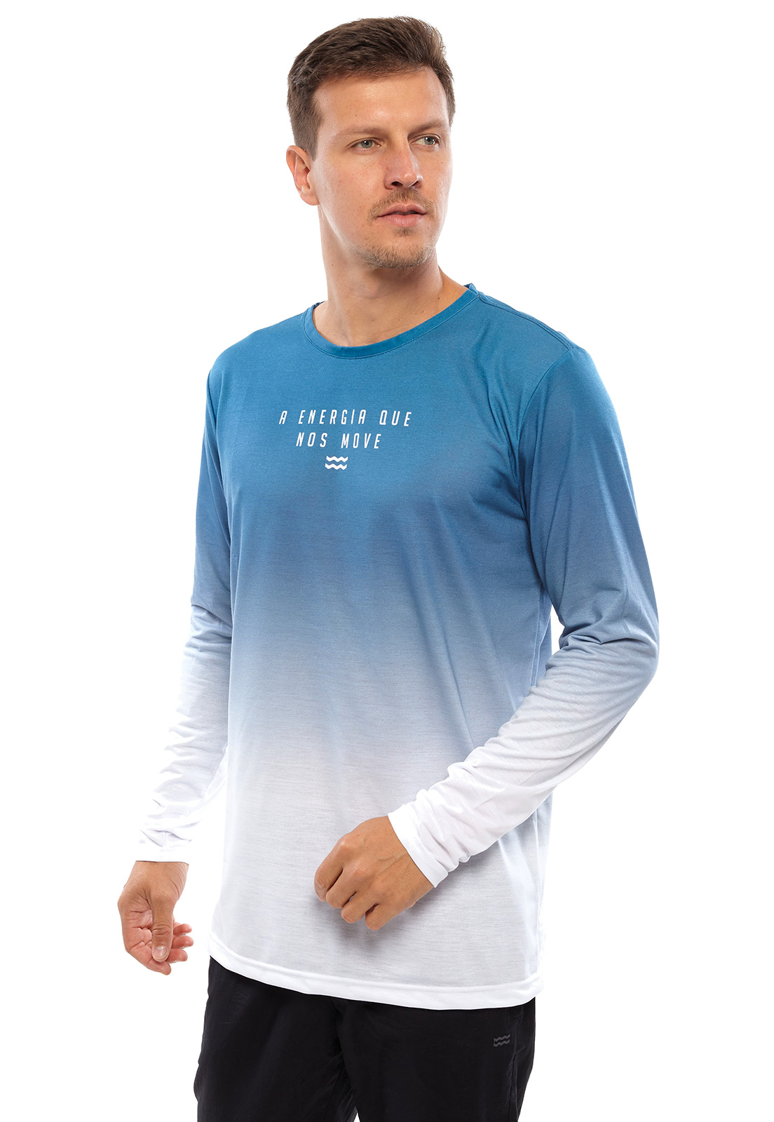 Camiseta Vida Marinha Manga Longa Branco/Azul