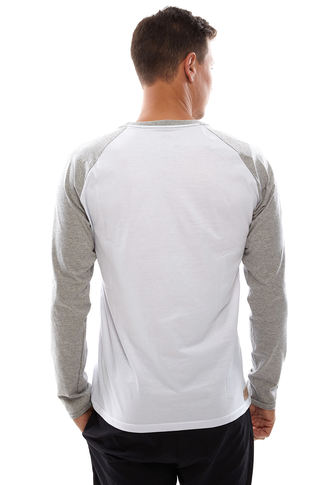 Camiseta Vida Marinha Manga Longa Branco/Cinza