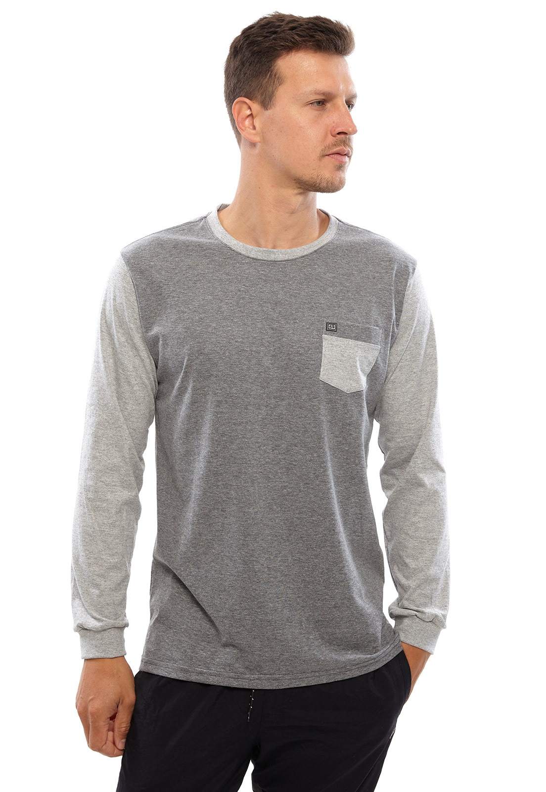 Camiseta Vida Marinha Manga Longa Cinza