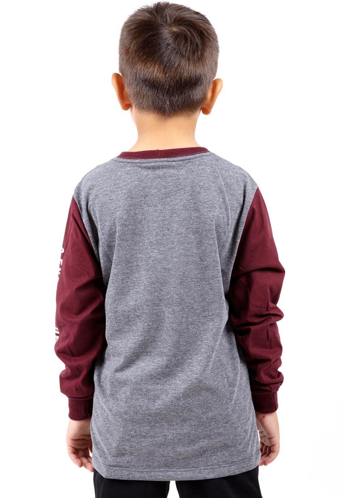 Camiseta Vida Marinha Manga Longa Cinza/Bordô