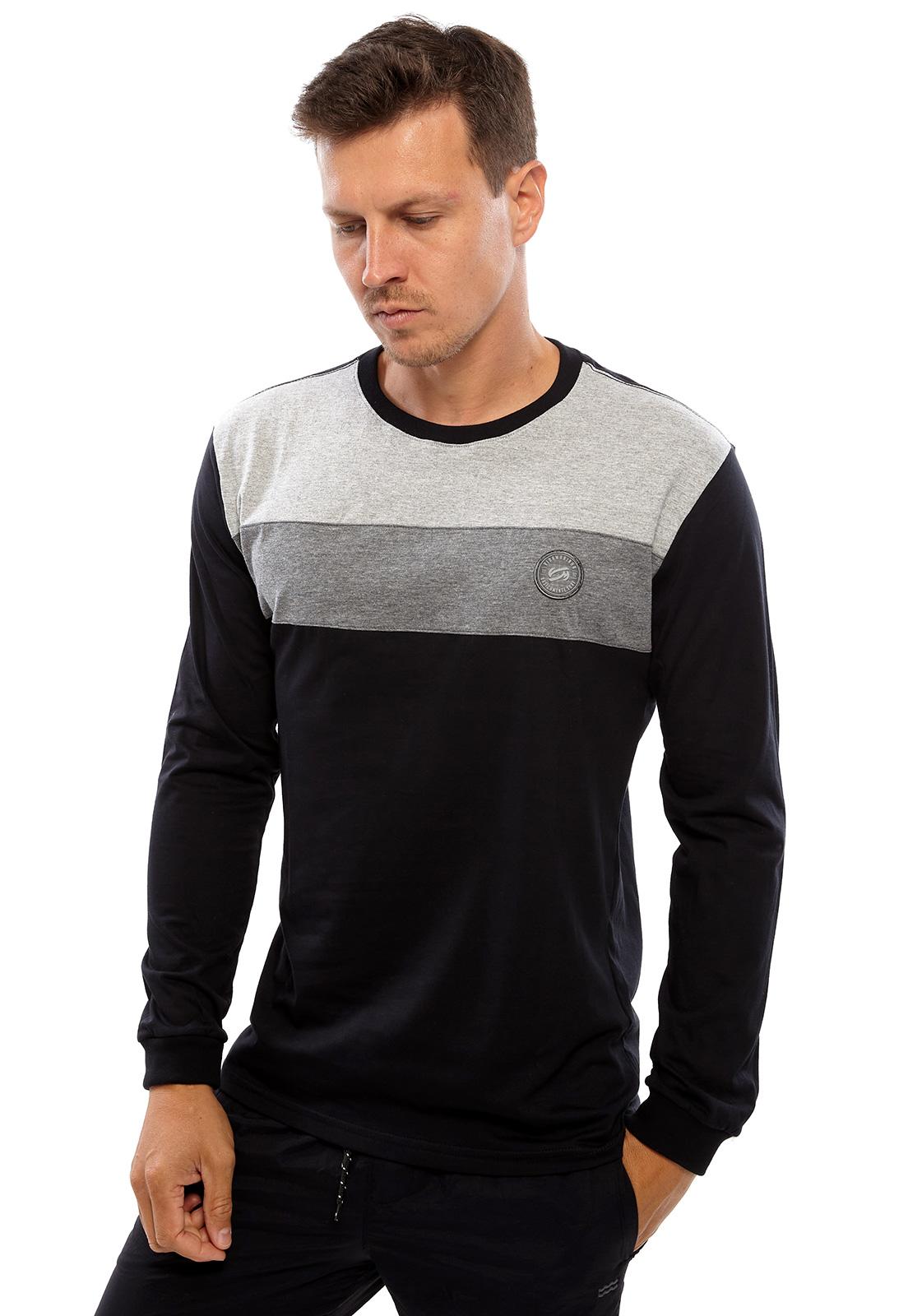 Camiseta Vida Marinha Manga Longa Preto/Cinza