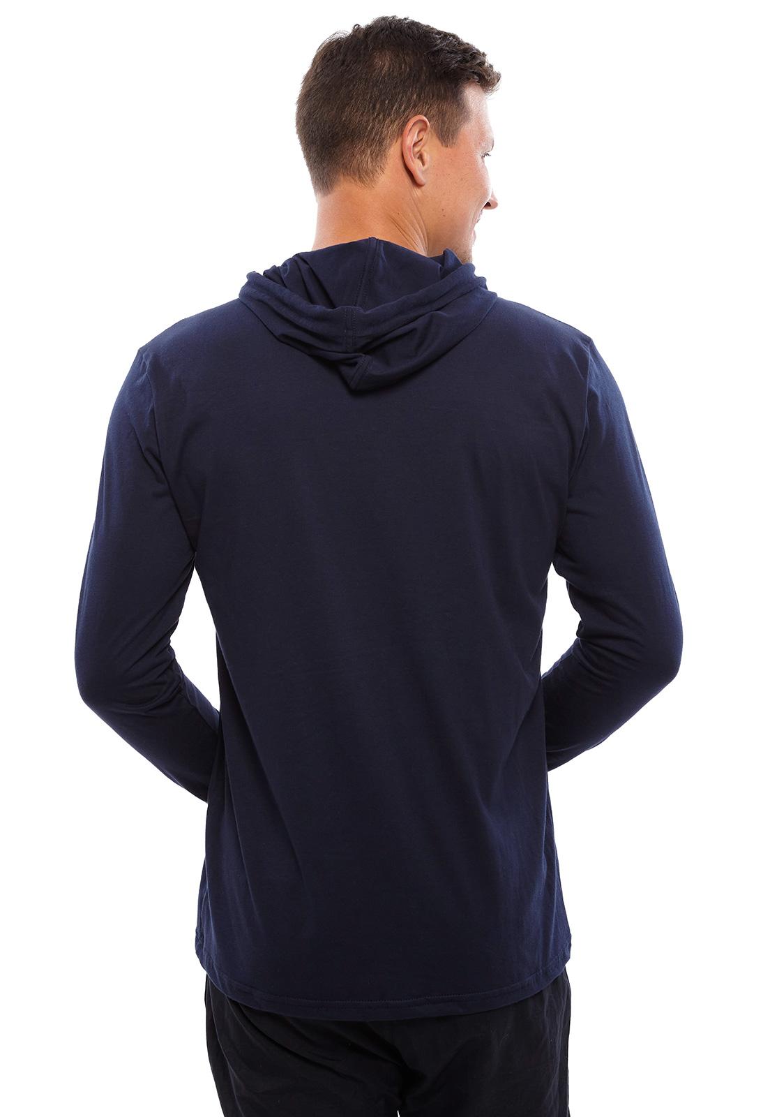 Camiseta Vida Marinha Manga Longa Marinho com Capuz