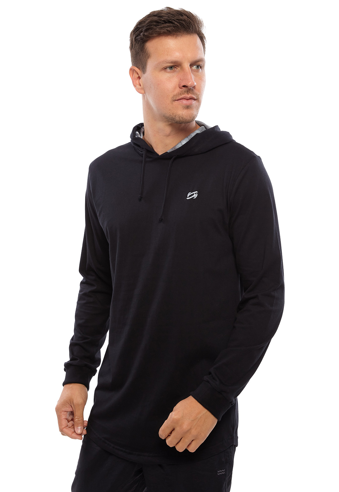 Camiseta Vida Marinha Manga Longa Preta com Capuz