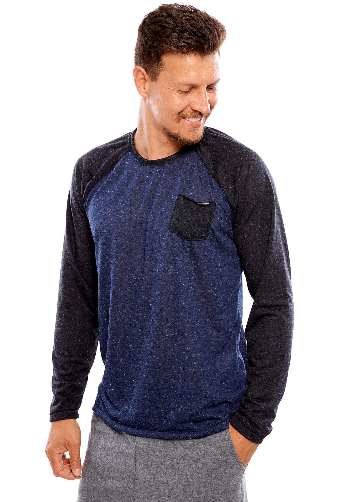 Camiseta Vida Marinha Manga Longa Azul/Preto