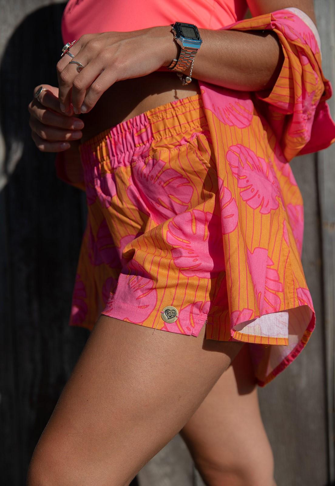 Conjunto Vida Marinha Camisa + Short Viscose Laranja/Rosa