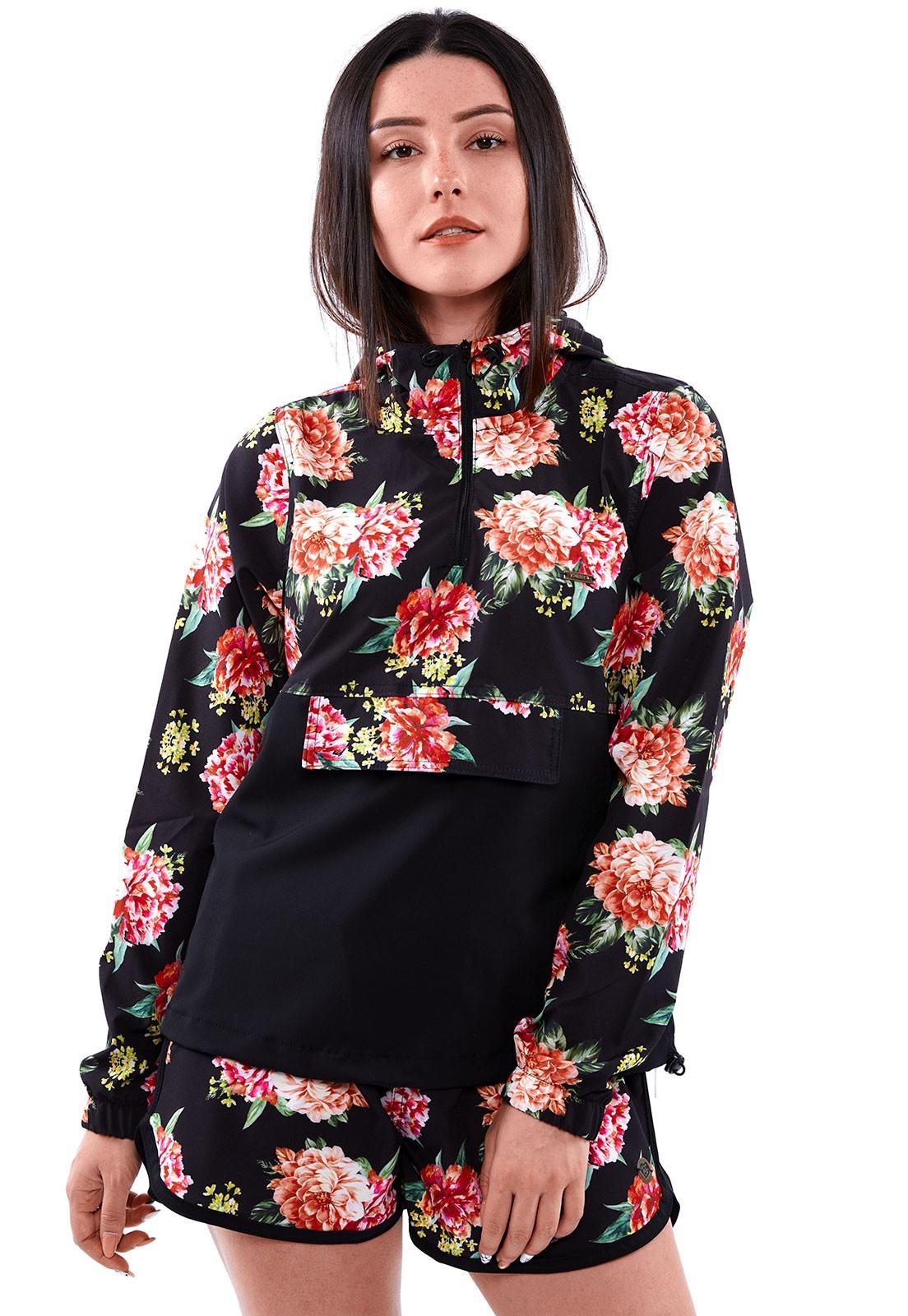 Conjunto Vida Marinha Corta Vento + Short Floral Preto