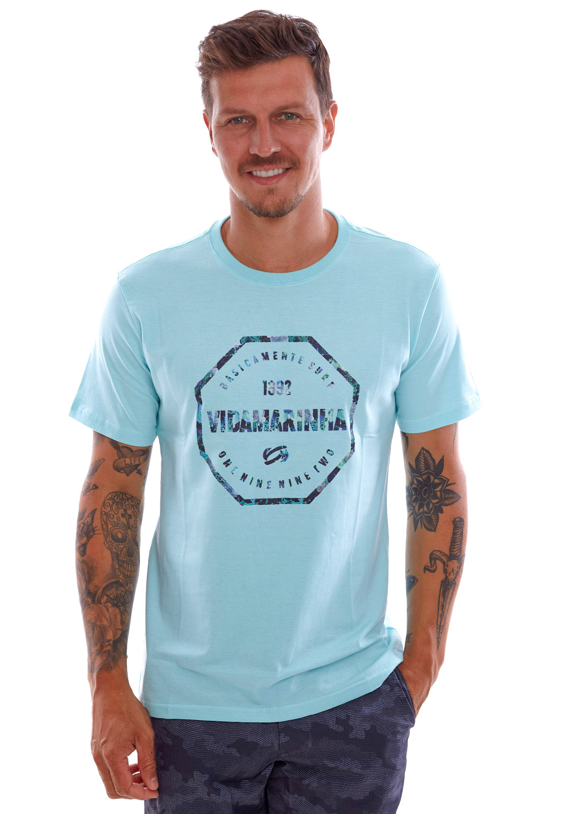 Camiseta Vida Marinha Manga Curta Azul Celeste
