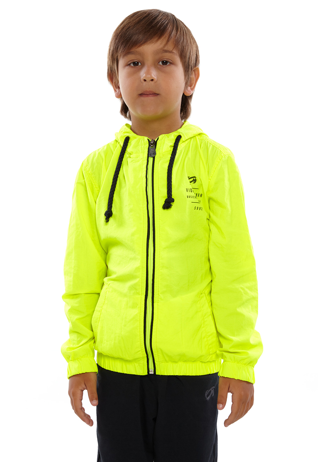 Jaqueta Corta Vento Infantil Vida Marinha Neon com Capuz