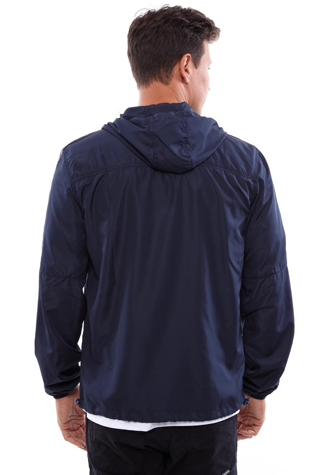 Jaqueta Corta Vento Vida Marinha Azul com Capuz