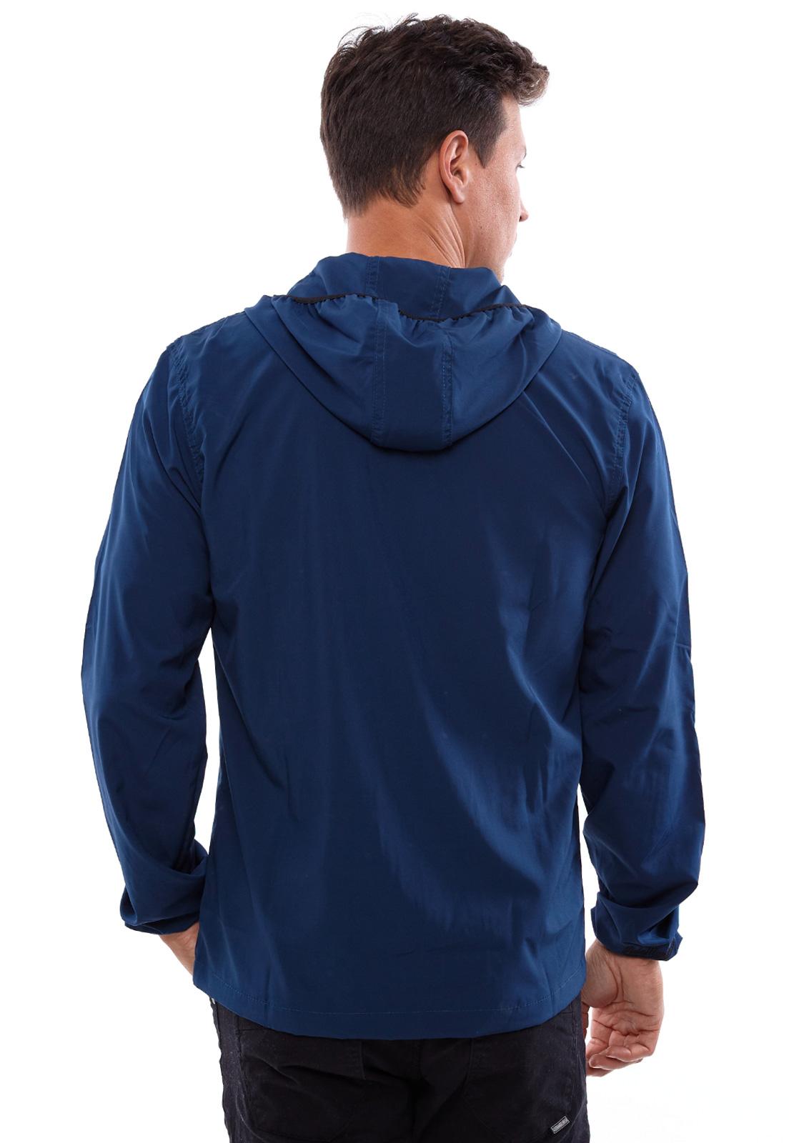 Jaqueta Corta Vento Vida Marinha Microfibra Azul com Capuz