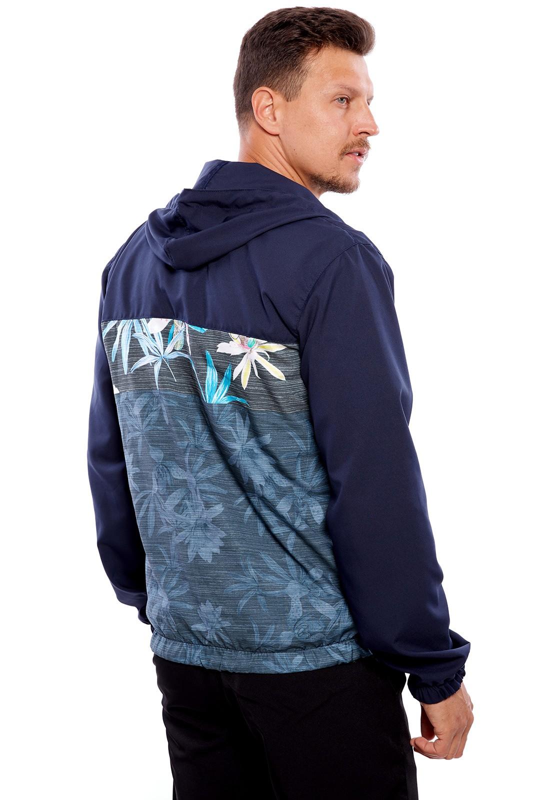 Jaqueta Corta Vento Vida Marinha com Capuz Azul/Floral