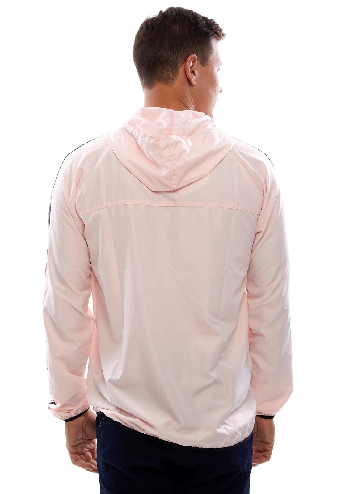 Jaqueta Corta Vento Vida Marinha Microfibra Rosa Claro com Capuz