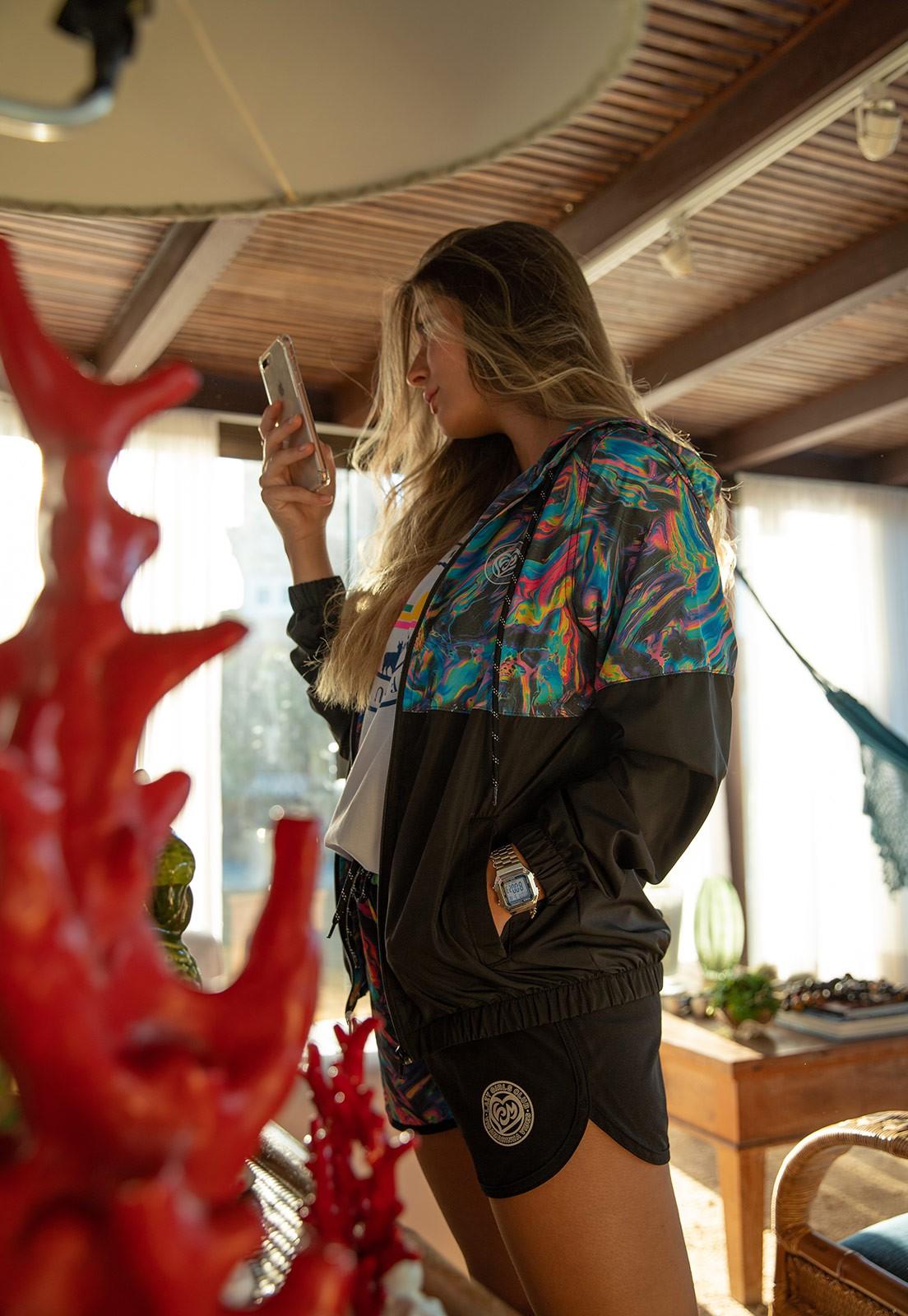 Jaqueta Vida Marinha Corta Vento Preto/Tie Dye