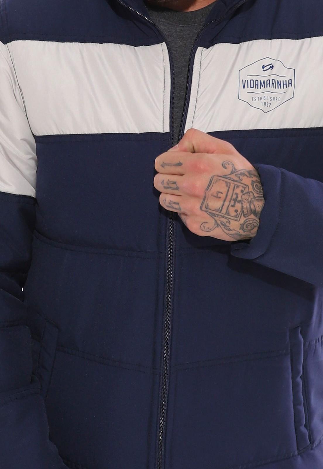 Jaqueta Vida Marinha Forrada Azul Marinho/Cinza