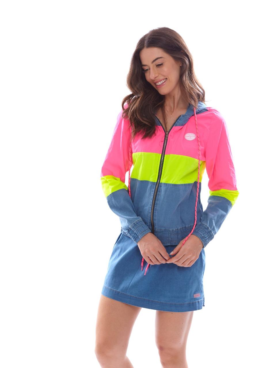 Jaqueta Vida Marinha Jeans/Neon