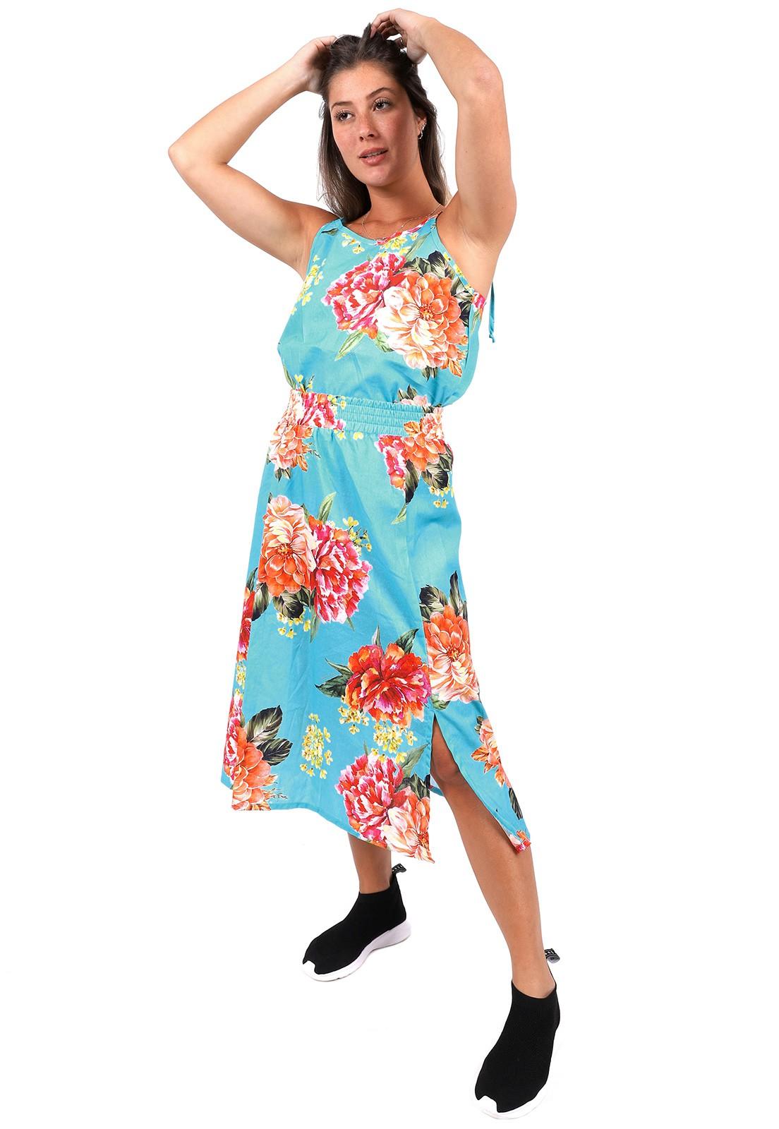 Saia Vida Marinha Midi Viscose Floral Azul