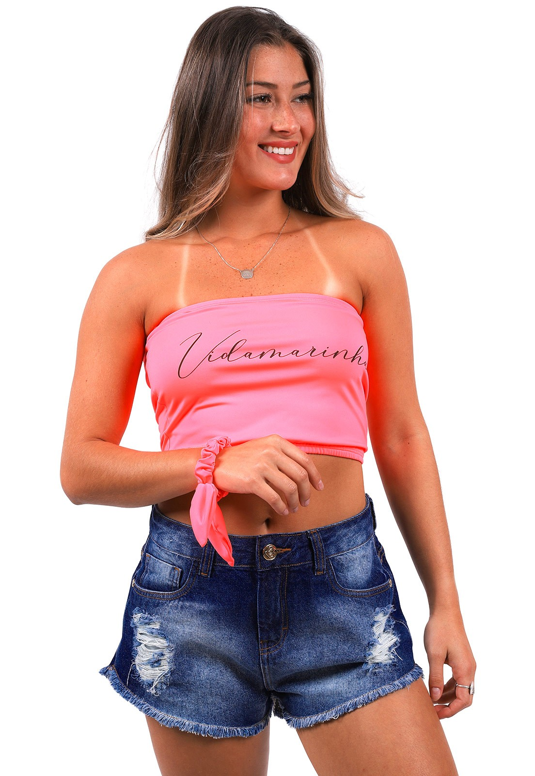 Top Faixa Vida Marinha Rosa Neon + Scrunchie
