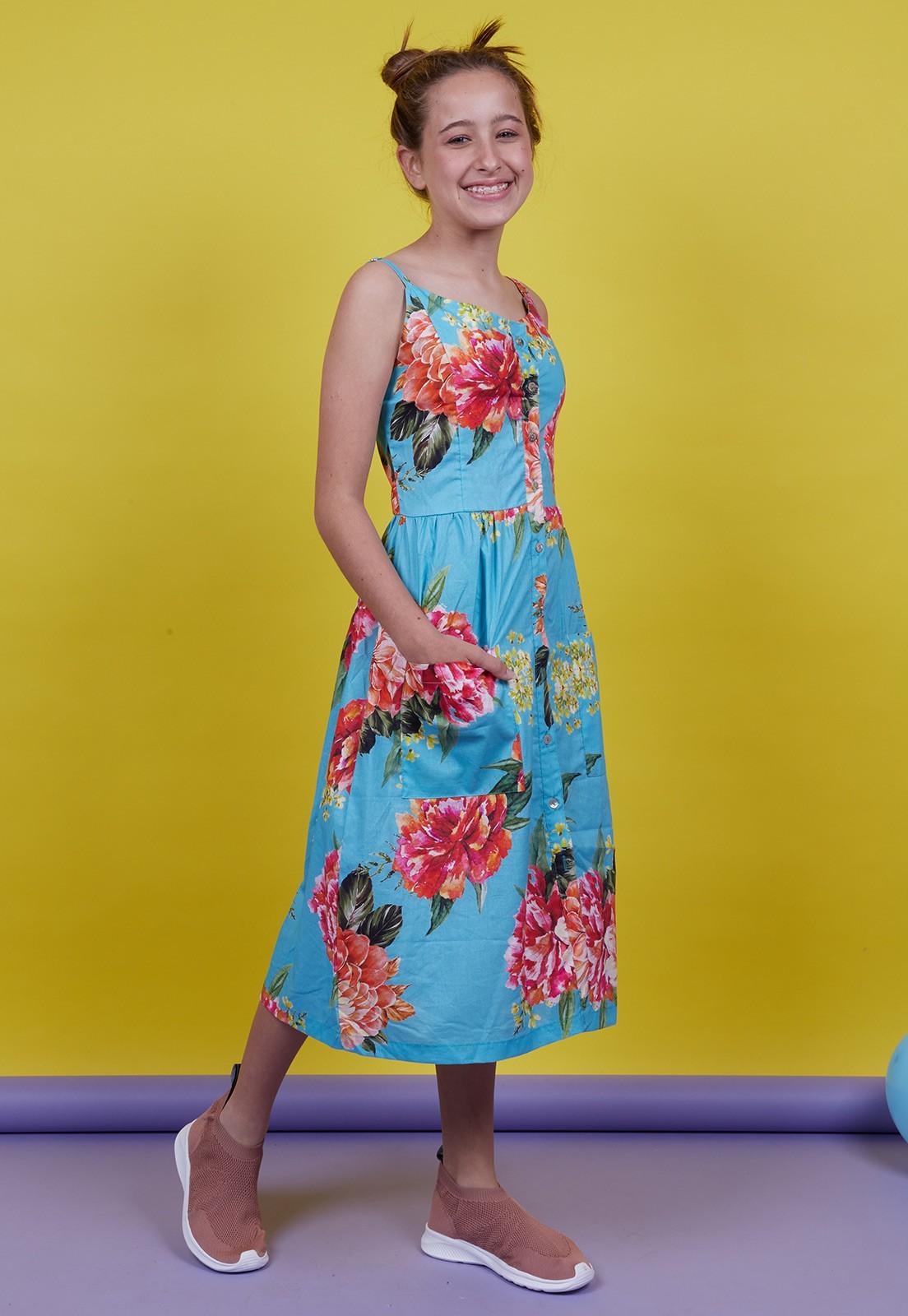 Vestido Vida Marinha Teen Floral Azul