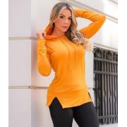 Blusa com Capuz e Fenda frontal  Amarelo