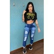 Calça Jeans Feminino Mom Destroyed