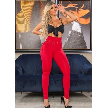 Calça Legging Modeladora com Ilhós empina Bumbum Vermelha