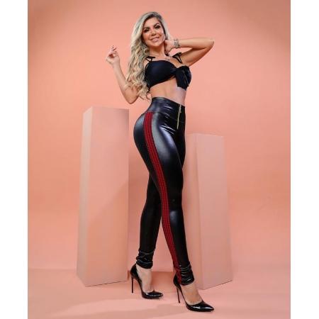 Calça Legging Modeladora Poderosa com Faixa Vermelha