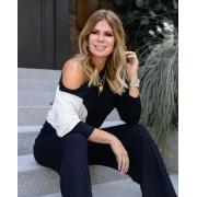 Conjunto Bicolor de blusa e calça de viscolycra Preto
