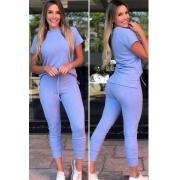 Conjunto  Canelado de blusa e calça azul bebê