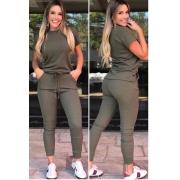 Conjunto Canelado de blusa e calça  verde