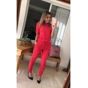 Conjunto Canelado de blusa e calça  Vermelho