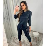 Conjunto de blusa de manga longa e calça