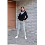 Conjunto de blusa de manga longa e calça de crepe com elastano