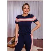 Conjunto de blusa e calça de crepe com elastano Azul