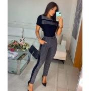 Conjunto de blusa e calça de Moletinho e Jacquard Cinza