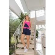 Conjunto De Shorts E Blusa Bicolor De Moletinho